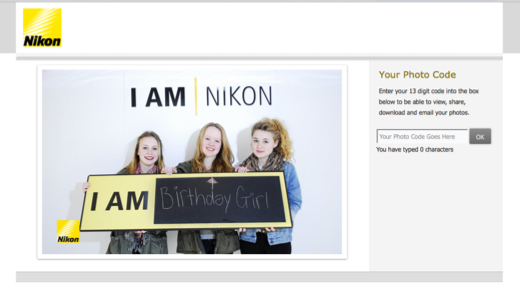 Micro-site for Nikon - enabling easy download and sharing of photos