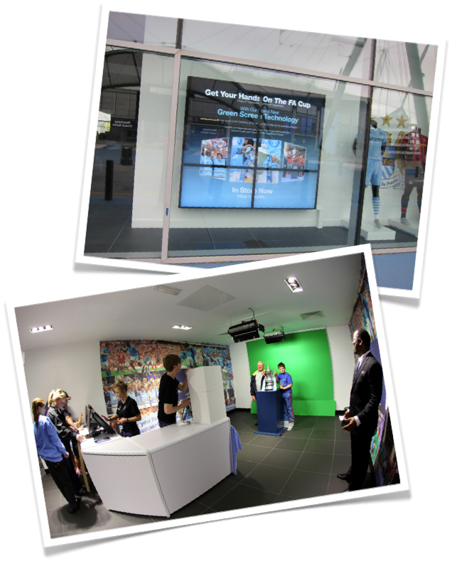 Our green screen photo installation at Man City's Stadium Store