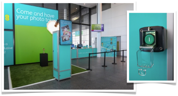 Our fully branded, green screen photo installation at Wembley, including informative banners & easy-to-use, push-button operation