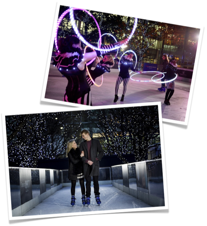 Christmas photo installation at Canary Wharf Ice Rink